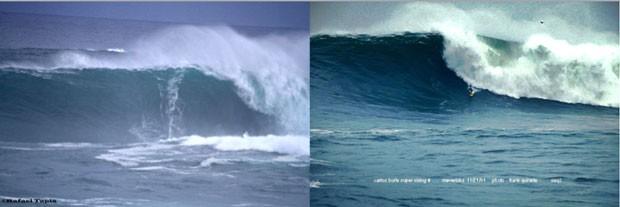 surfe Carlos Burle comparação com onda de 68 pés (Foto: Rafael Tapia)