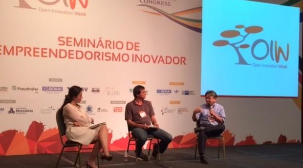 Sandra Boccia, Pedro Chiamulera e Bento Koike durante debate na Open Innovation Week 2014 (Foto: Rafael Farias Teixeira)
