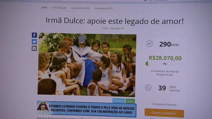 Obras Sociais Irmã Dulce utilizam plataforma digital para arrecadar recursos (Foto: TV Bahia)