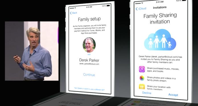 Apple mostra como funciona do Family Shraing no iOS 8 (Foto: Reprodução/Apple)