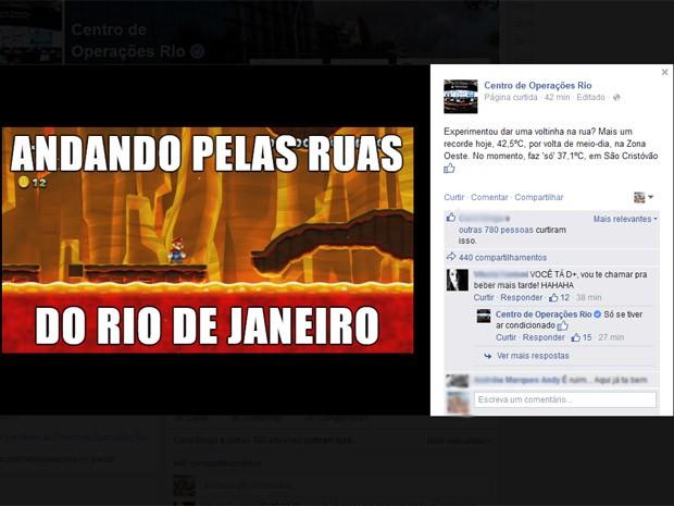 Nas mídias sociais, Prefeitura do Rio levou o calor na brincadeira (Foto: Centro de Operações/Reprodução)