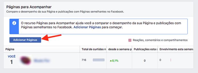 Opção para comparar páginas concorrentes no Facebook (Foto: Reprodução/Marvin Costa)