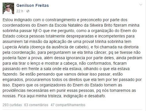 Tio da jovem, Genilson Freitas fez um desabafo no Facebook e diz que vai registrar boletim de ocorrência e acionar MP-AC (Foto: Reprodução/Facebook)