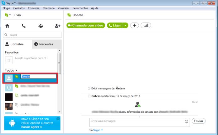 O usuário pode renomear qualquer contato da sua lista no Skype (Foto: Reprodução/Lívia Dâmaso)