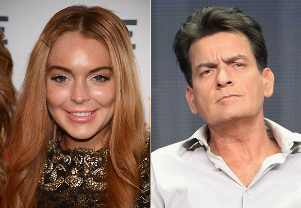 Lindsay Lohan e Charlie Sheen (Foto: Getty Images)