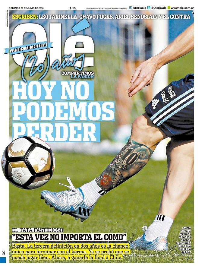 """BLOG: """"Hoje não podemos perder"""": jornal """"Olé"""" pressiona a seleção argentina na final"""