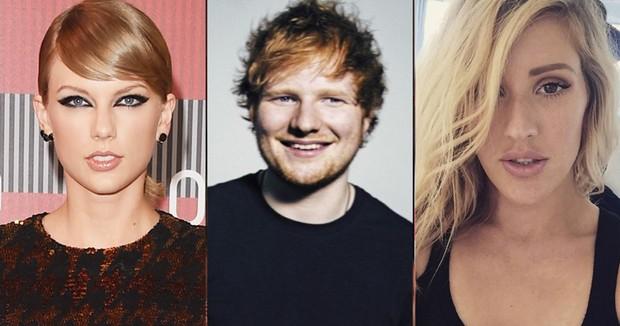 Taylor Swift, Ed Sheeran e Ellie Goulding (Foto: Reprodução)