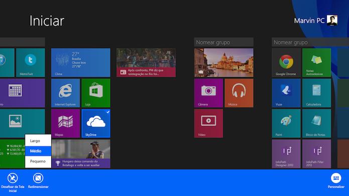 Os blocos da tela inicial do Windows 8.1 podem ser redimensionados pelo usuário (Foto: Reprodução/Marvin Costa)