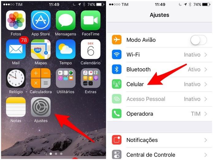 Abra as configurações do iPhone (Foto: Reprodução/Lucas Mendes)