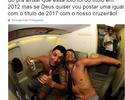 Thiago Neves quer repetir foto ao lado de Sobis: sem camisa e com cerveja