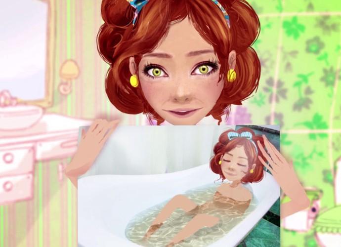 Sebastiana toma banho de banehiro e deixa a pele macia. Confira a dica! (Foto: sériesoriginais/Gshow)