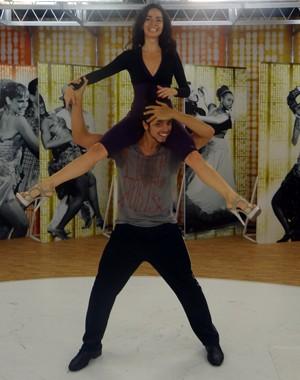 Os dois se divertem muito nos ensaios (Foto: Domingão do Faustão/TV Globo)
