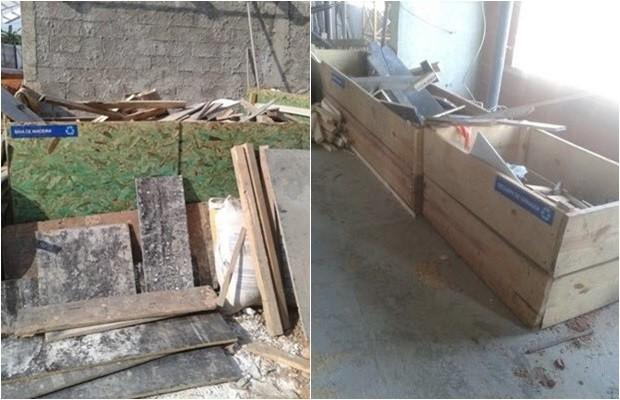 Projeto promove reciclagem e descarte correto de madeiras usadas em obras, em Goiânia, Goiás (Foto: Divulgação)
