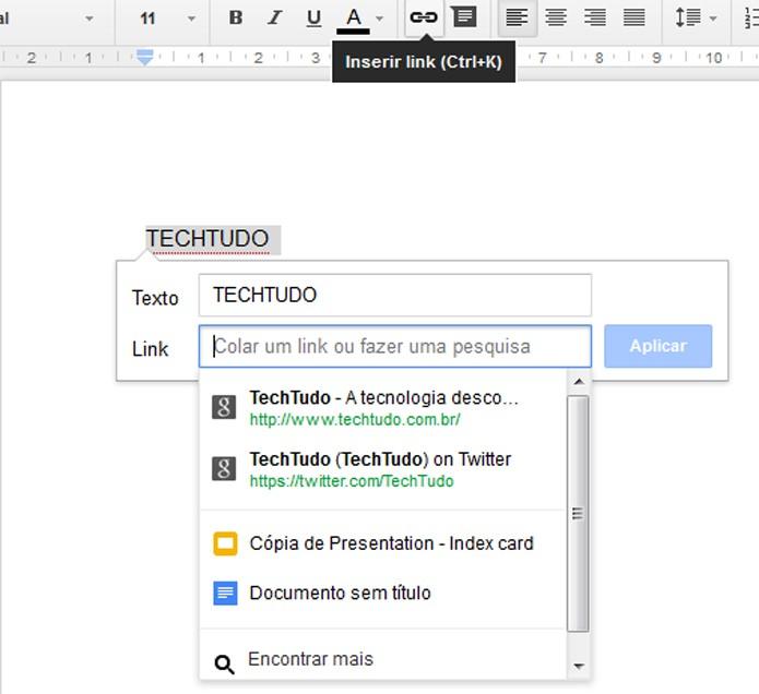 Busque links para seus arquivos sem sair do Google Docs (Foto: Reprodução/Carol Danelli)