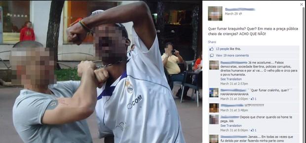 Imagem de agressão de homem a morador de rua em Belo Horizonte (Foto: Pedro Munhoz/Arquivo pessoal)