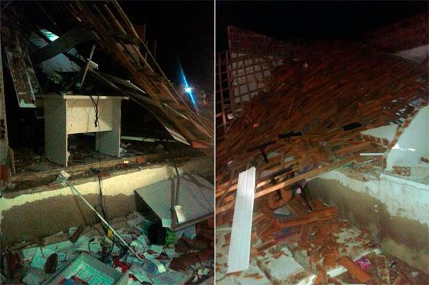 Em Senador Elói de Souza, prédio onde funcionava a agência do Bradesco foi completamente destruído pelas explosões (Foto: Valber Moura/G1)