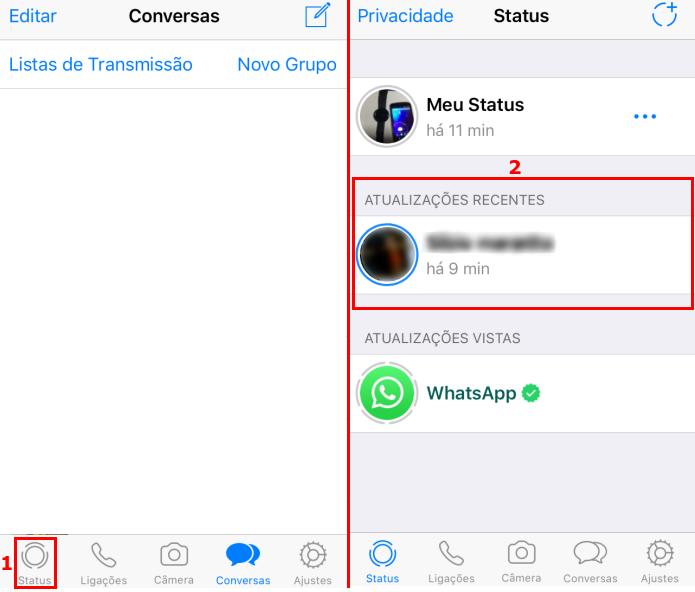 """Acessando a guia """"Status"""" do WhatsApp no iPhone (Foto: Reprodução/Edivaldo Brito)"""