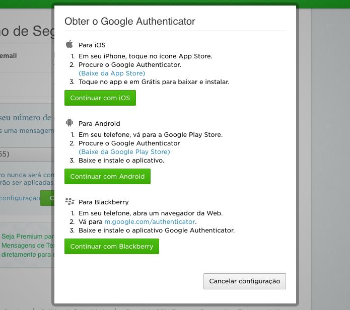 Instale o app de autenticação do Google em seu telefone (Foto: Reprodução/Helito Bijora)