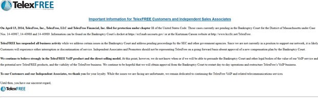 Comunicado na ágina da Telexfree anuncia suspensão de todas as atividades (Foto: Reprodução)