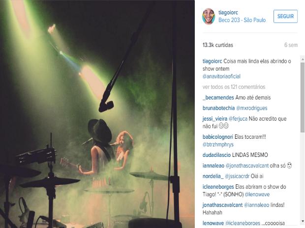 Meninas já abriram show de Tiago Iorc e ele faz a divulgação delas no instagram (Foto: Reprodução/Instagram)