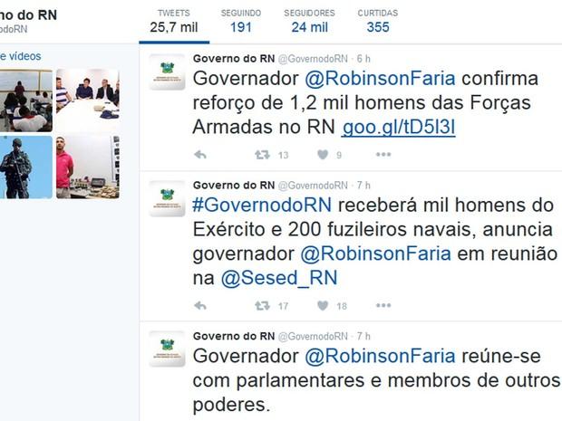 Governador do RN confirma no Twitter que o governo federal enviará mil homens do Exército e 200 fuzileiros Navais (Foto: Reprodução)