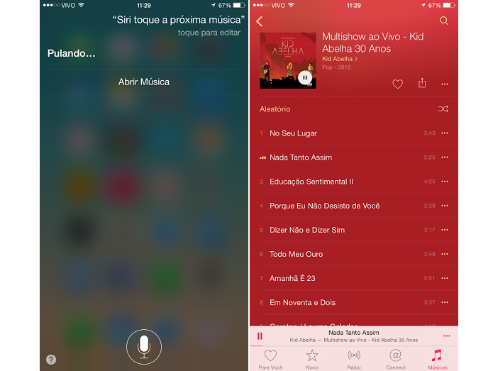 Pular faixas é um dos novos comandos da Siri com o Apple Music (Foto: Reprodução/Aline Jesus)