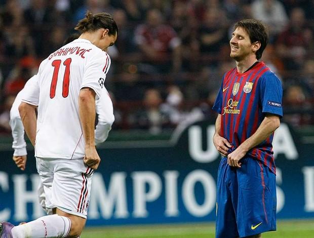 Ibrahimovic e Messi - Milan X Barcelona (Foto: Agência Reuters)