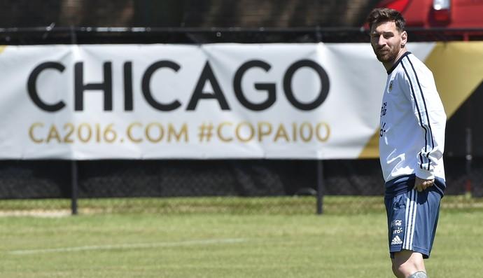 Messi treino Argentina Chicago (Foto: AFP)