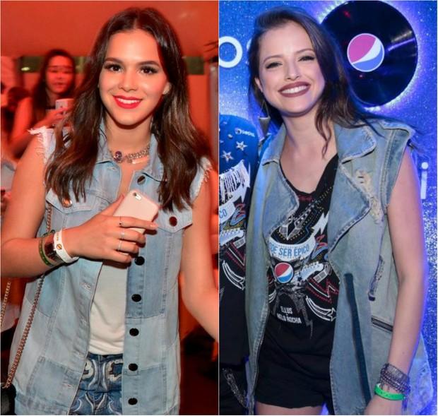 Look no Rock in Rio:  Bruna Marquezine e Agatha Moreira usam maxicolete jeans (Foto: Ag. News)