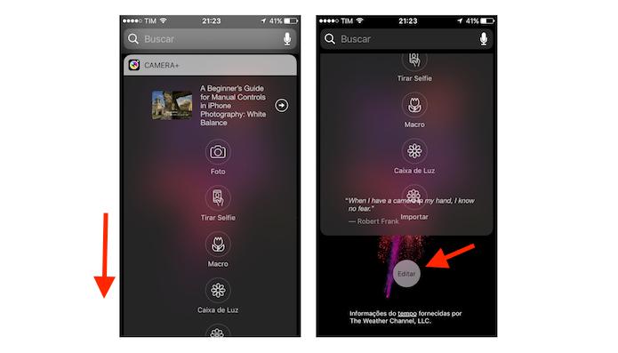 Widget adicionado à tela de pesquisa do iOS 10 (Foto: Reprodução/Marvin Costa)