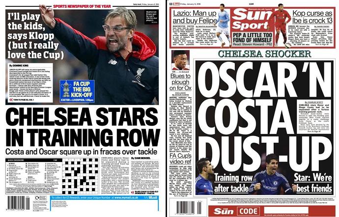 BLOG: Imprensa inglesa destaca suposta briga entre Oscar e Diego Costa no Chelsea