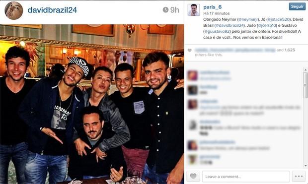 Neymar com David Brazil e amigos (Foto: Instagram / Reprodução)