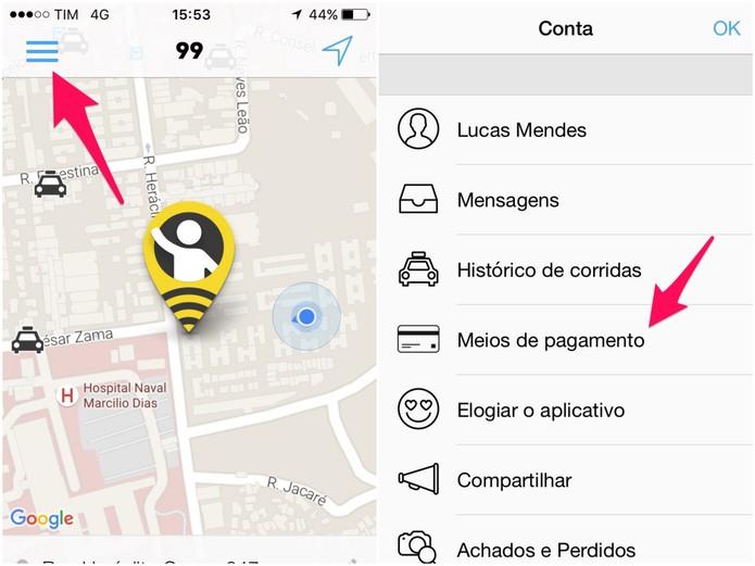 Acesse Meios de Pagamento, no menu do app (Foto: Reprodução/Lucas Mendes)