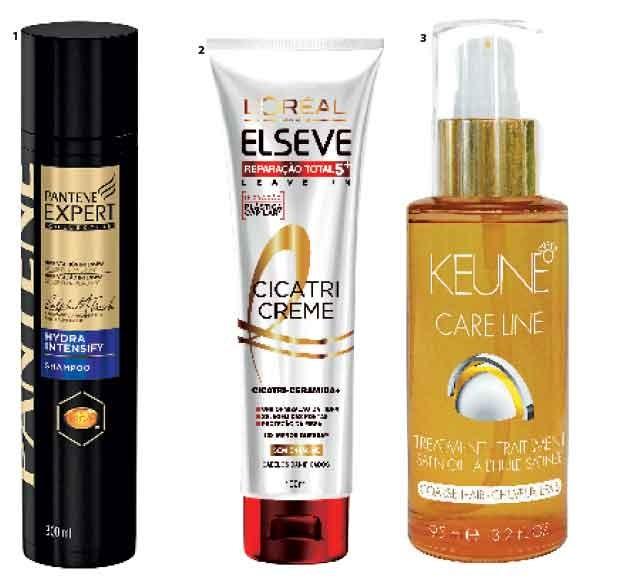 1. Shampoo Hydra Intensify, Pantene, R$ 25  2. Cicatri-Creme Finalizador, Elsève,  R$ 20  3. Tratamento com  óleo Satin Oil, Keune, R$ 317 (Foto: Jonas Bresan)