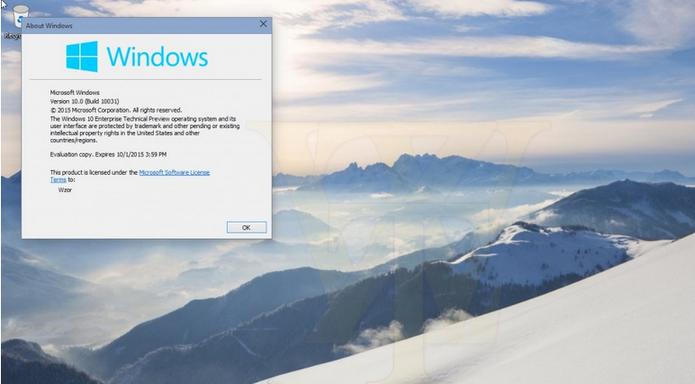 Vaza build 10031 do Windows 10 com novidades no Menu Iniciar e transparências (Foto: Reprodução/Wzor.net)