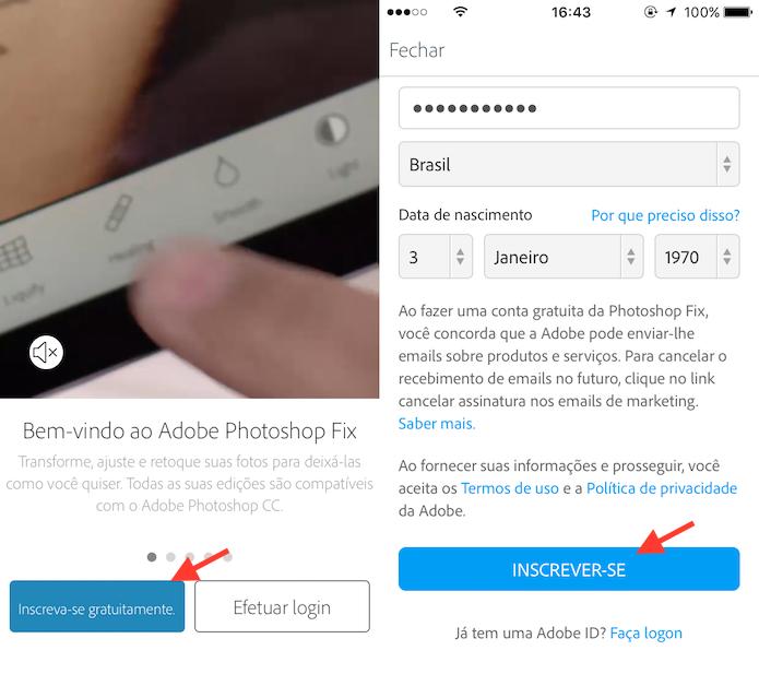 Opção para criar uma conta da Adobe para usar o Photoshop Fix no celular (Foto: Reprodução/Marvin Costa)