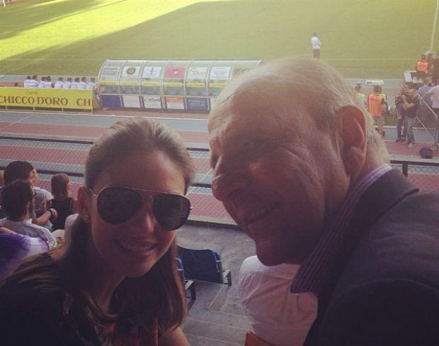 Carol Celico, esposa de Kaká, com Bosco Leite, pai de Kaká (Foto: Reprodução/Instagram)