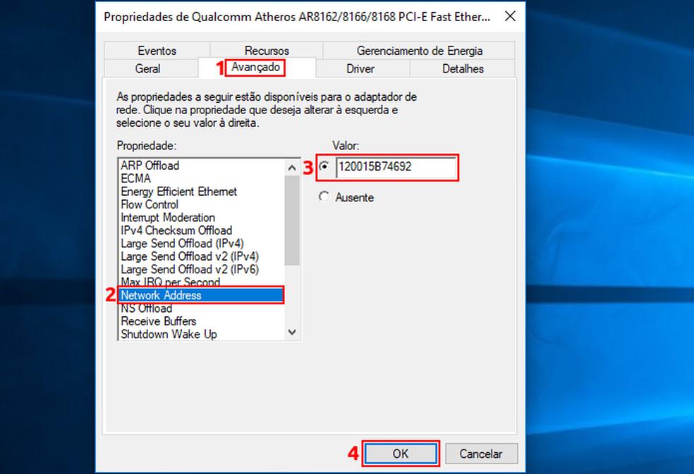 Mudando o endereço MAC no Windows (Foto: Edivaldo Brito/TechTudo)