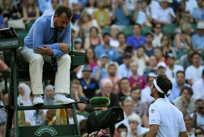 Como de costume, Fabio Fognini discutiu com árbitro (Foto: REUTERS/Toby Melville)