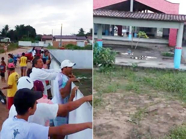 Triplo homicídio atraiu muitos curiosos, que tentaram por cima do muro da creche ver o local do crime  (Foto: Divulgação/PM)