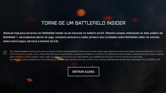 Para se inscrever na beta de Battlefield 1 é necessário concordar com e-mails promocionais (Foto: Reprodução/Rafael Monteiro)