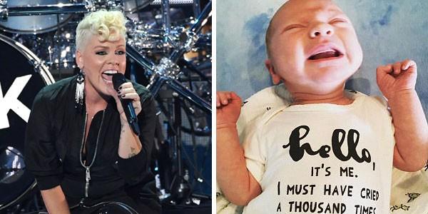 A cantora Pink e o filho, Jameson Moon Hart (Foto: Getty Images/Reprodução)