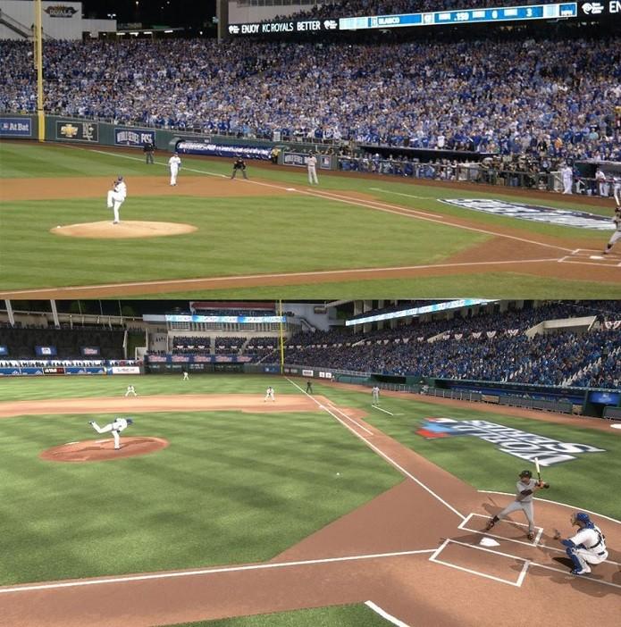 MLB 14 The Show: Imagem compara uma partida real e outra do game. Qual é qual? (Foto: Divulgação) (Foto: MLB 14 The Show: Imagem compara uma partida real e outra do game. Qual é qual? (Foto: Divulgação))