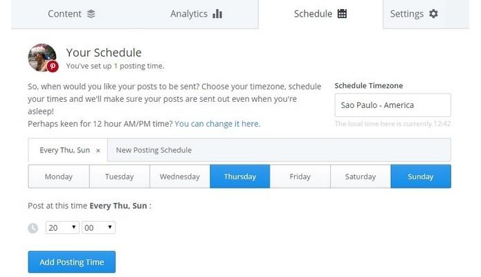 Aba Schedule com programação de dias e horários da postagem no Pinterest (Foto: Reprodução/ Raquel Freire)