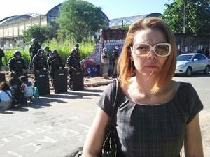 Advogada Liana Cirne Lins critica violência policial na reintegração de posse (Foto: Katherine Coutinho/G1 PE)