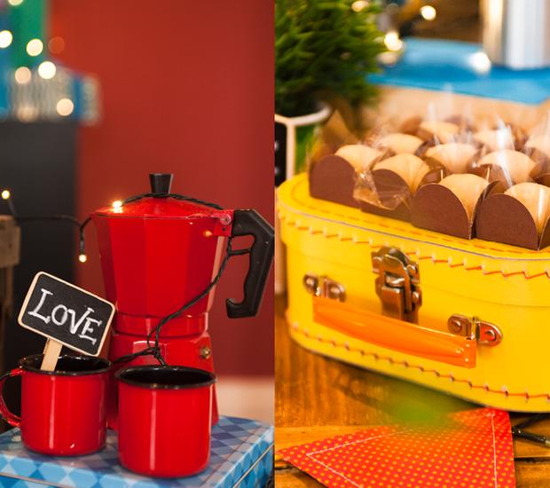 Itens que você já tem em casa também podem fazer parte da decoração, como a maletinha que serviu para apoiar os brigadeiros e essa cafeteira retrô charmosa. (Foto: Divulgação)