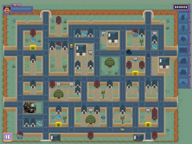 Em game, agente de saúde deve percorrer cidade destruindo focos do mosquito (Foto: Reprodução/UFG)