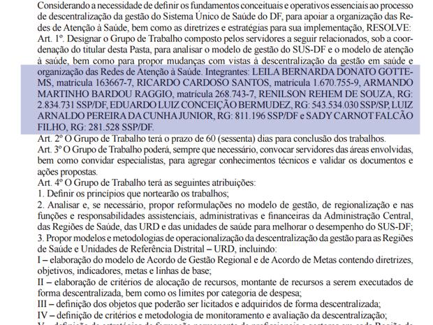 Texto da portaria que instaura grupo para tratar do modelo das OSs no DF (Foto: Reprodução)