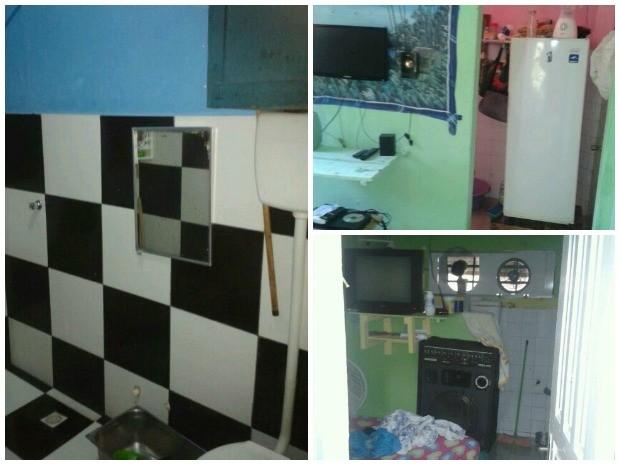 Banheiro azulejado, refrigerador, TV de LCD e caixa amplificada compõem algumas celas da ala (Foto: Arquivo pessoal)