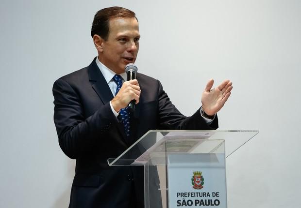 O prefeito de São Paulo, João Doria (PSDB), discursa durante cerimônia de cessão do Campo de Marte para a cidade (Foto: Alan Santos/PR)